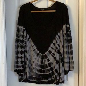 Black gray tie dyed tunic